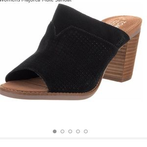 Toms Marjorca Open Toe Black Suede Mule Sandals